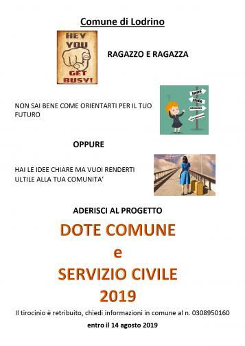 DOTE COMUNE E SERVIZIO CIVILE 2019